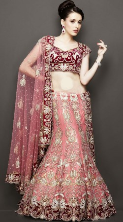Modernistic Blush Pink Net Designer Wedding Lehenga With Heavy Work