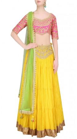 Modernistic Crush Yellow Designer Lehenga With Contrast Choli SUUDL23119