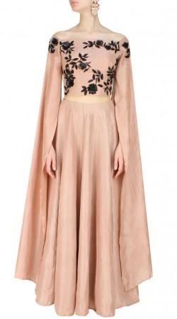Modernistic Dusty Peach Silk Designer Floral Work Cape Top Lehenga SUUDL13516