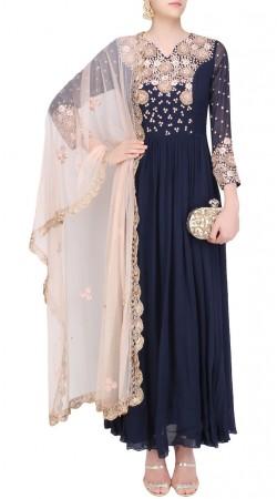 Modernistic Floral Hand Work Dark Blue Designer Anarkali Suit SUMS26017