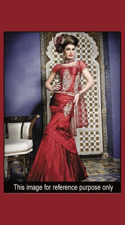 Modernistic Heavy Work Red Designer Gown Style Lehenga SM0401