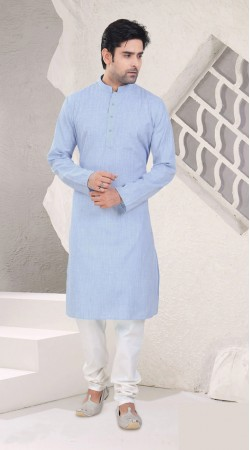 Modernistic Light Sky Blue Cotton Mens Kurta Pajama SI0642