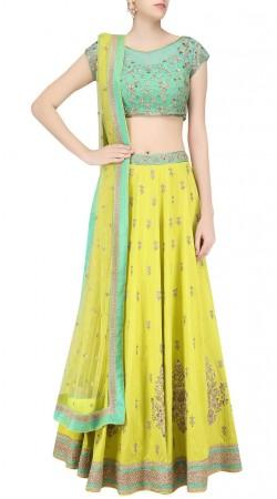 Modernistic Lime Green Silk Designer Lehenga Choli With Embroidery Work SUUDL24319