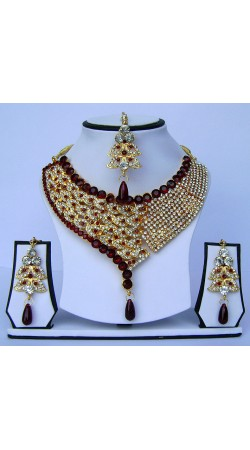 Modernistic Maroon Stone Work Choker Artificial Necklace Set With Tika N62099