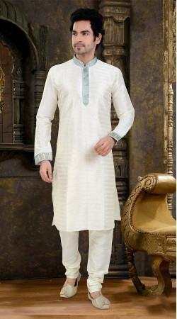 Modernistic Neck Thread Work White Art Raw Silk Kurta Payjama SIL1038