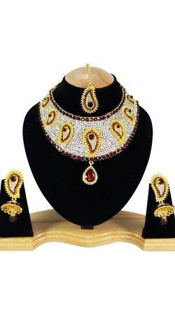 Modernistic Necklace Set With Stones Work NNP80205