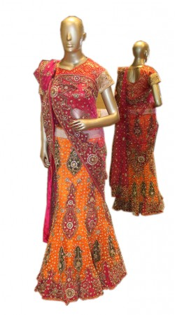 Modernistic Orange Net Bridal Lehenga Choli With Heavy Work SD1458