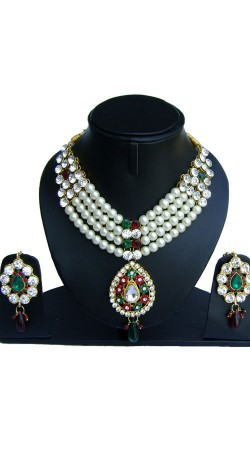 Modernistic Pearl Moti And Stones Work Necklace Set NNP75302