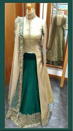 Modernistic Rama Green Silk Designer Lehenga With Off White Long Choli BP0824