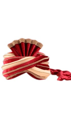 Modernistic Red And Cream Velvet Groom Wedding Pagri With Stone Work ZP0610
