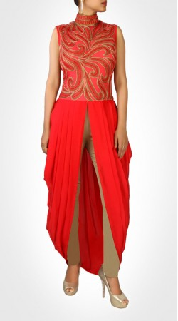 Modernistic Red Dhoti Style Kameez With Beautiful Yoke Work SUMS19317
