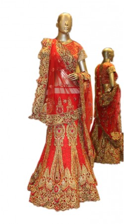 Modernistic Red Net Designer Bridal Lehenga Choli With Heavy Work SD0758