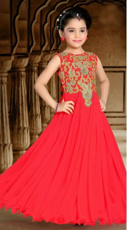 Modernistic Red Net Kids Girl Designer Embroidered Gown DTK2352