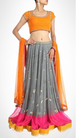 Modernistic Sequins Work Grey Net Lehenga Choli With Orange Dupatta SUUDL15316