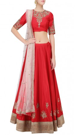 Modernistic Silk Red Designer Lehenga Choli With Embroidery Work SUUDL22419