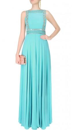 Modernistic Sky Blue Designer Gown Style Kameez With Net Dupatta SUMS26917