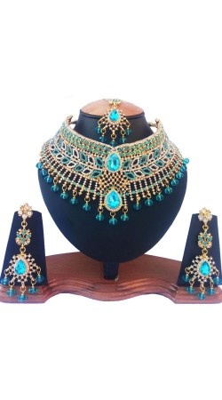 Modernistic Sky Blue Stones Necklace Set With Tika NNP76803