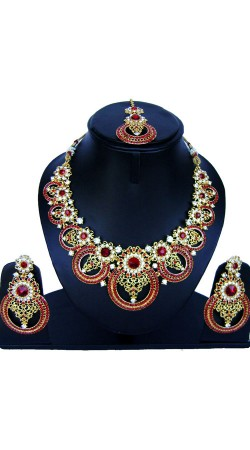 Modernistic Stone Work Necklace Set With Maang Tika NNP86508