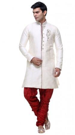 Modernistic White Brocade Designer Indo Western Sherwani GR131404