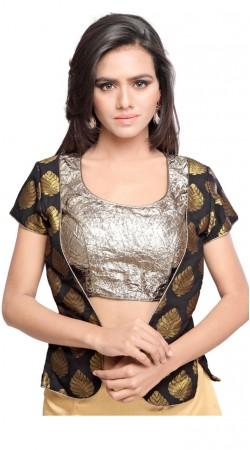 Modish Black Art Silk Jacquard Jacket Style Silver Shimmer Designer Blouse BPMS1612