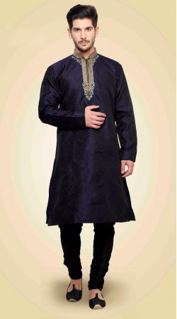 Modish Neck Embroidered Navy Blue Banarsi Brocade Kurta DTKP2051