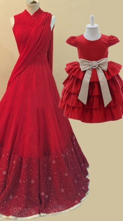 Mother Daughter Red Matching Dress For Party BP4254
