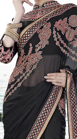 Refreshing Georgette Black Exclusive Embroidered Saree MS943430