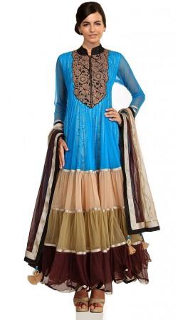 Sky Blue Net Ankle Length Anarkali Suit SU301