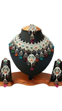Multicolor Stone Work Necklace Set with Tika NNP81806