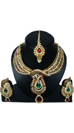 Multicolor Stones Work Necklace Set With Tika NNP83707