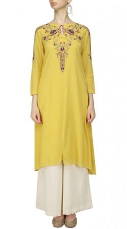 Mustard Green Silk Plus Size Kameez With Palazzo Pant SUMA54828