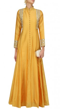 Mustard Silk Floor Length Anarkali SUUDS49630