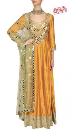Mustard Silk Plus Size Anarkali Suit With Mirror Work SUMS32021