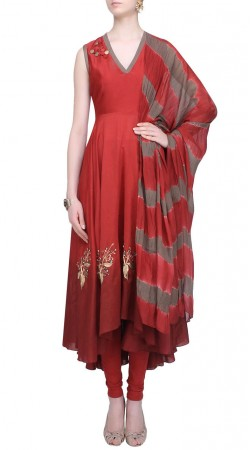 Mystical Silk Red Designer Asymmetrical Kameez With Dupatta SUMS24417