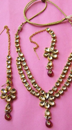 N00496 Stunning Red Kundan Necklace Set with Tika