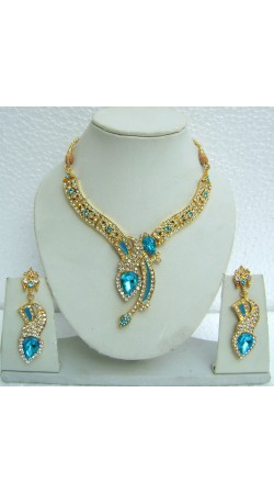 N08295 Designer Artificial Jewellery Necklace Set with Tika