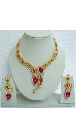 N08395 Pretty Pink And White Stone Designer Artificial Jewellery Necklace Set With Tika