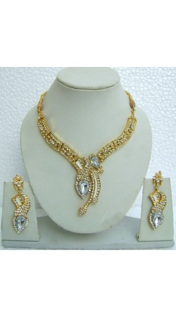N08495 Designer Artificial Jewellery Necklace Set with Tika