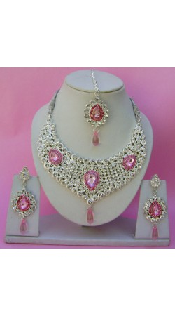 N09195 Drop Shape Necklace Set with Tika