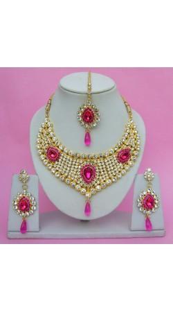 N09595 Drop Shape Necklace Set with Tika