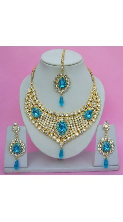 N09895 Drop Shape Necklace Set with Tika