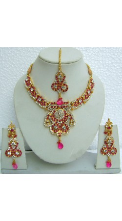 N09995 Designer Artificial Jewellery Necklace Set with Tika