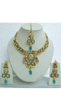 N10195 Designer Artificial Jewellery Necklace Set with Tika