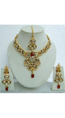 N10295 Designer Artificial Jewellery Necklace Set with Tika