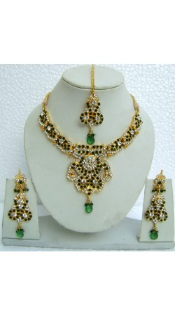 N10395 Designer Artificial Jewellery Necklace Set with Tika