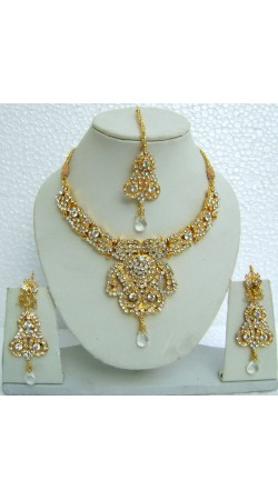 N10495 Designer Artificial Jewellery Necklace Set with Tika