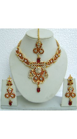 N10595 Designer Artificial Jewellery Necklace Set with Tika