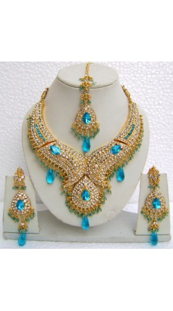 N10695 Designer Artificial Jewellery Necklace Set with Tika