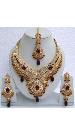 N10795 Designer Artificial Jewellery Necklace Set with Tika