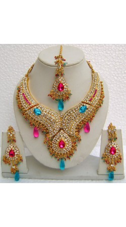 N11095 Designer Artificial Jewellery Necklace Set with Tika